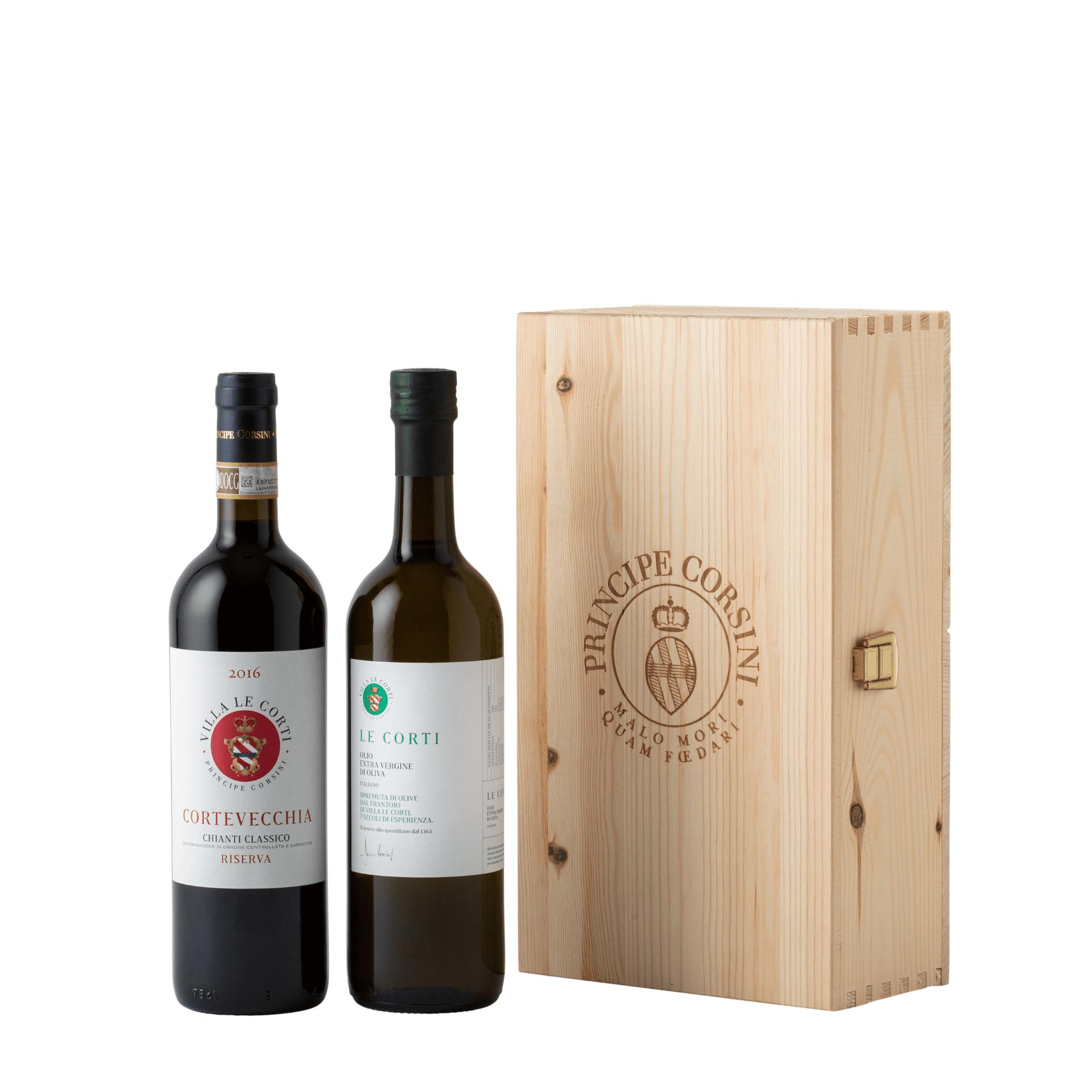 Cortevecchia 2016 + EVO Oil Le Corti + Wooden Box