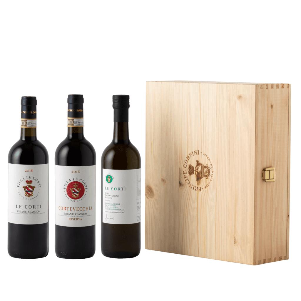 Le Corti 2018 + Cortevecchia 2016 + EVO Oil Le Corti + Wooden Box
