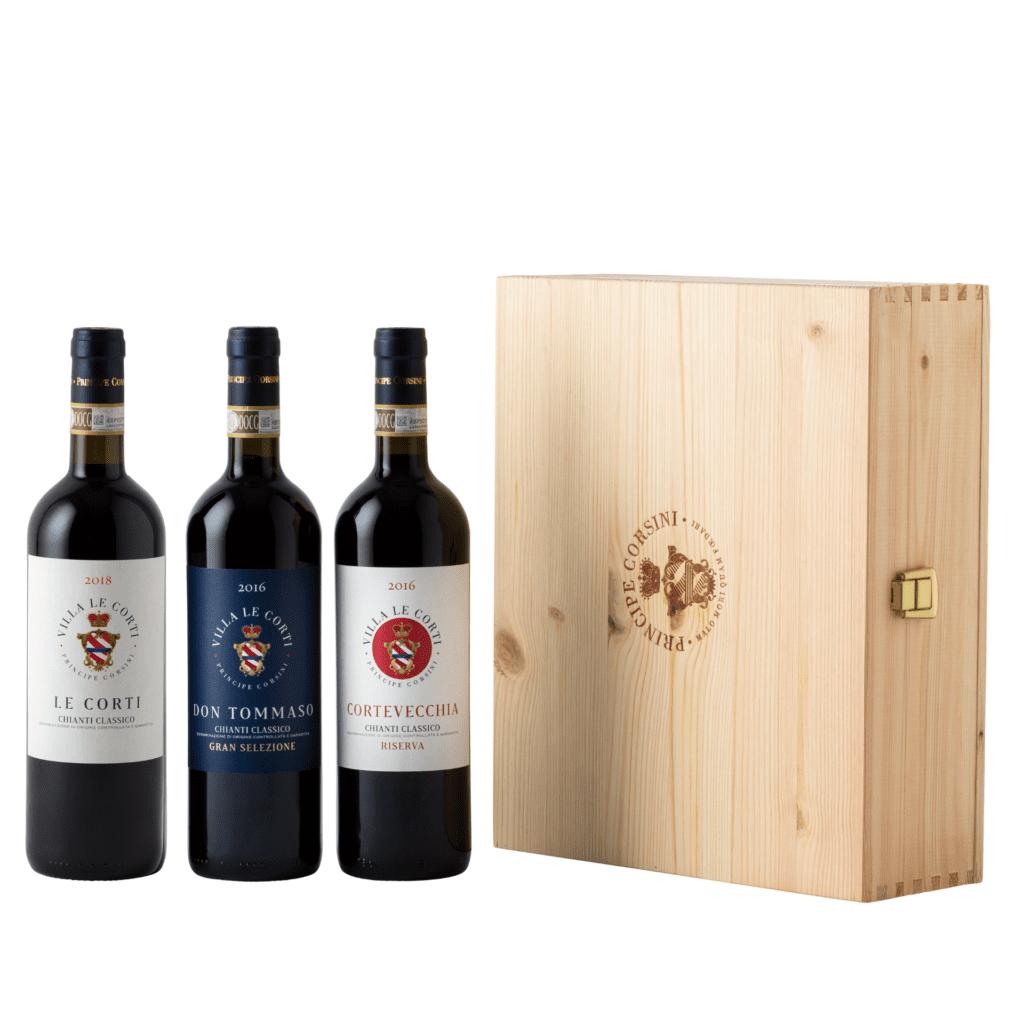 Le Corti 2018 + Don Tommaso 2016 + Cortevecchia 2016 + Wooden Box