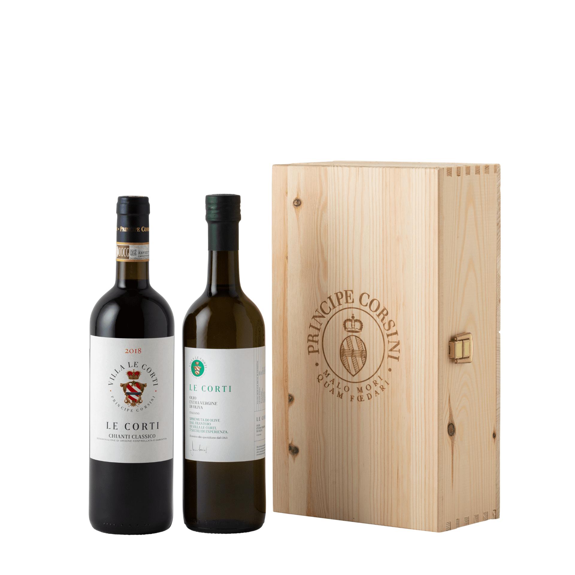 Le Corti DOCG 2018 + EVO Oil Le Corti + Wooden Box